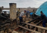 Огонь повредил здание мечети в Казахстане