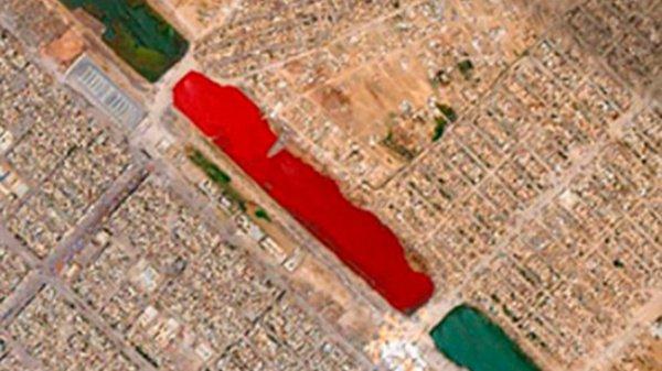 Спустя некоторое время в Google Maps водоем изменил свой цвет на нормальный — голубой