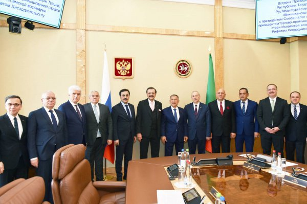 Турецкая делегация с президентом Татарстана.