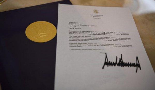 Назарбаев получил телеграмму от Трампа.