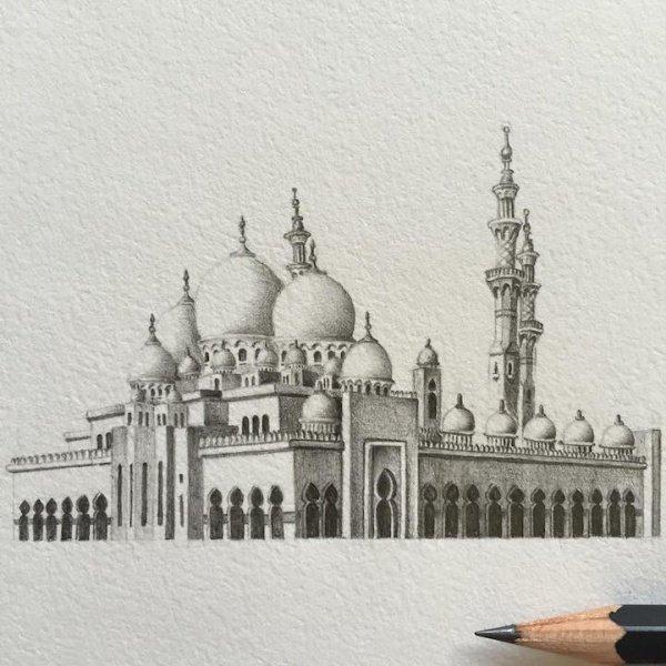 Минарет мечети размером со скрепку: удивительные рисунки Мариам Аббас