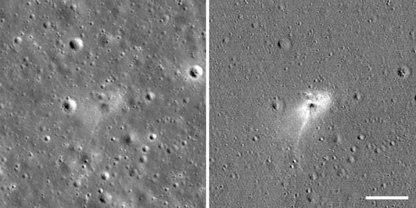 Определить по снимкам, оставил ли аппарат глубокий кратер, сложно