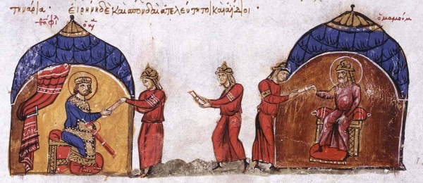 Аль-Ма'мун отправил послов к византийскому императору Феофилу. Источник: History of John Skylitzes (оцифровка книги на http://bdh-rd.bne.es/)