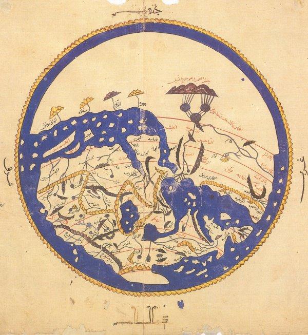 Карта мира аль-Идриси. Источник: Wikipedia