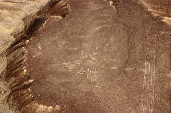 Геоглифами, или линиями Наски, называют громадные геометрические узоры, нанесенные на землю плато Наска ориентировочно до 12 века
