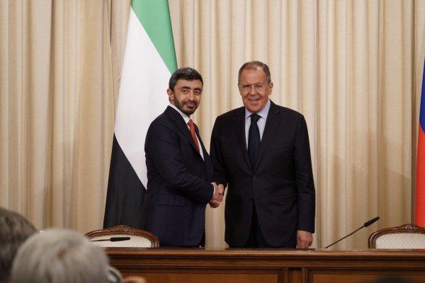 Лавров и Аль Нахайян на пресс-конференции по итогам переговоров.