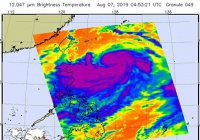 Спутник НАСА снял супертайфун Лекима