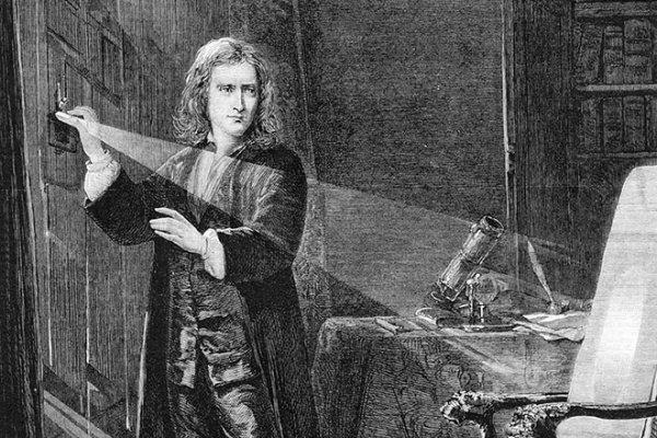 Исаак Ньютон, экспериментирующий со светом.