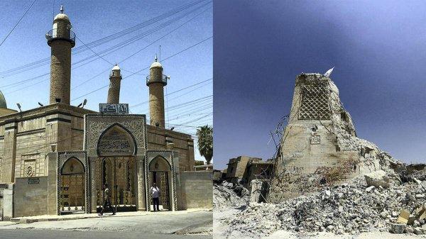 Историческая мечеть была разрушена боевиками ИГИЛ в 2017 году.