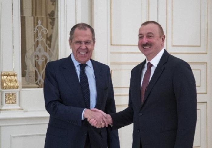 Сергей Лавров и Ильхам алиев на встрече в Москве.