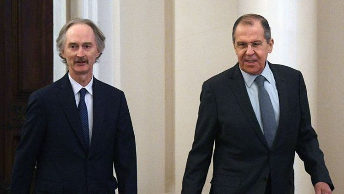 Лавров и Педерсен на встрече в Москве в январе 2019 года.