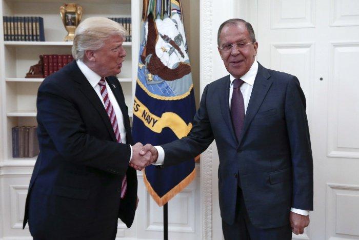 Лавров и Трамп на встрече в Вашингтоне.