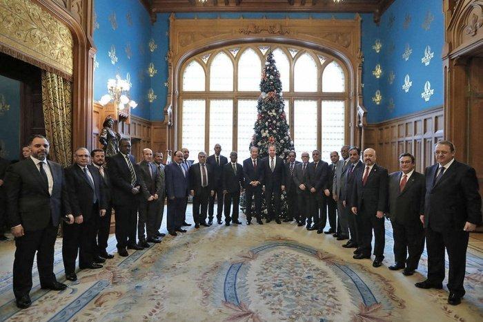 Лавров с послами арабских государств в Москве 17 января 2018 года.