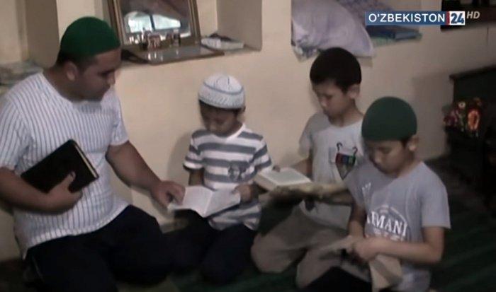 Кадр из сюжета узбекского телевидения о нелегальной религиозной школе.