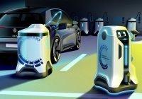 Изобретен робот для зарядки электромобилей
