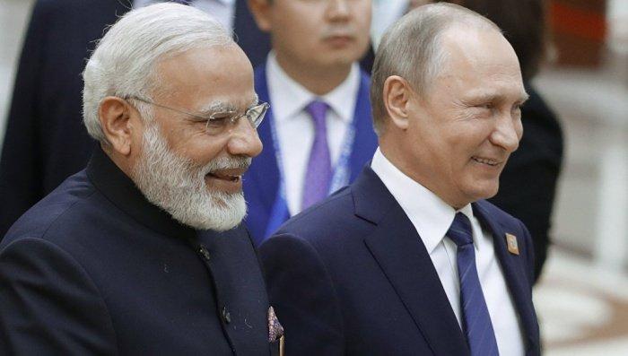 Путин и Моди в ходе одной из предыдущих встреч.