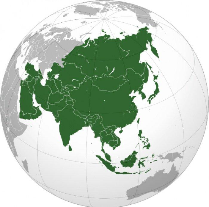 Азия на проекции глобуса. (Источник фото: wikipedia.org)