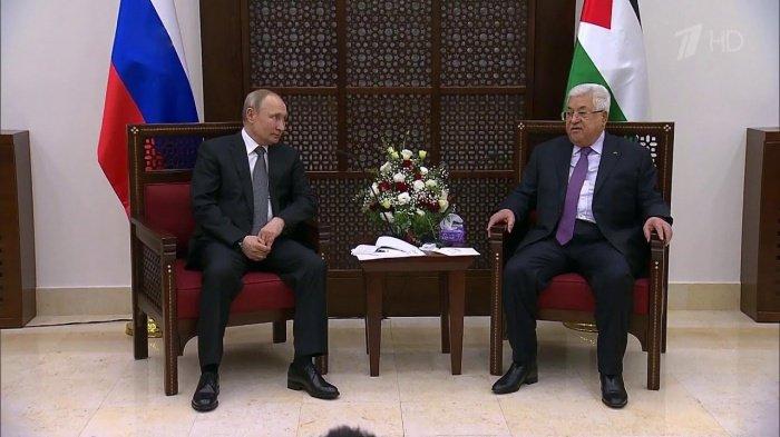 Президенты России и Палестины на встрече.