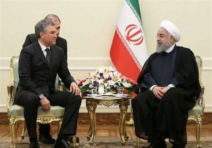 Володин и Роухани на встрече в Тегеране.