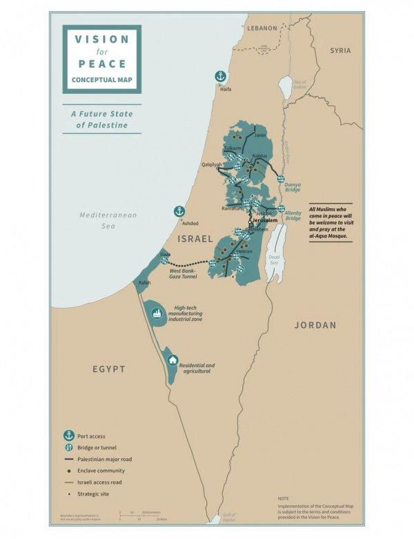 Границы Палестины выделены на карте зеленым цветом.