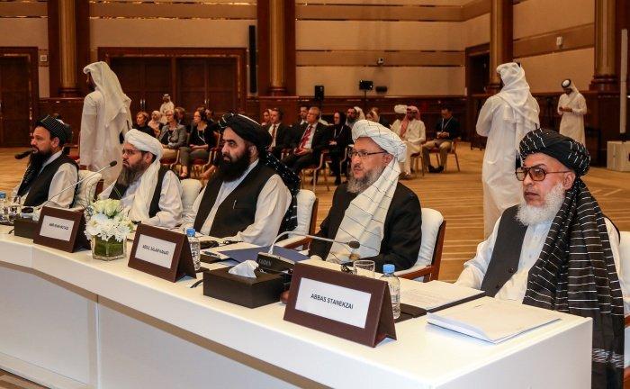 Делегация талибов на переговорах в Дохе.