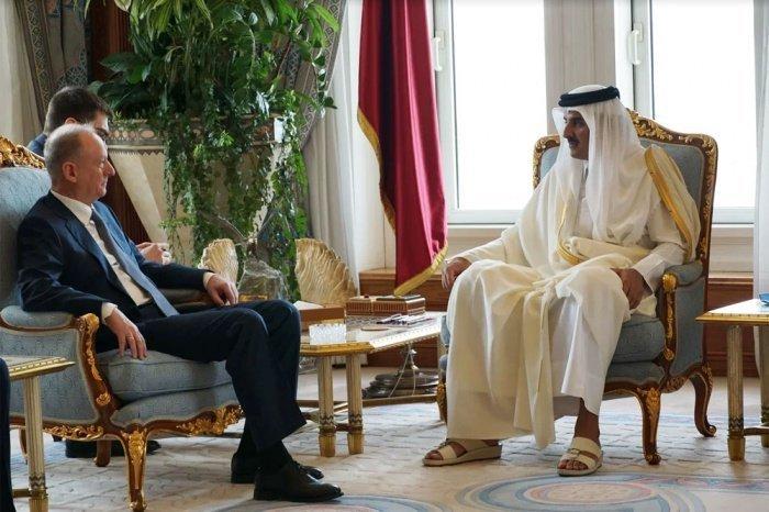 Николай Патрушев и Тамим бен Хамад Аль Тани на встрече в Дохе.