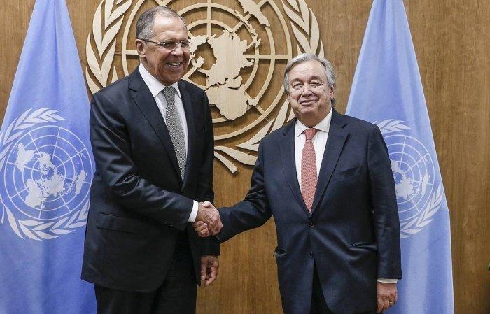 Лавров и Гутерреш на встрече в Женеве.