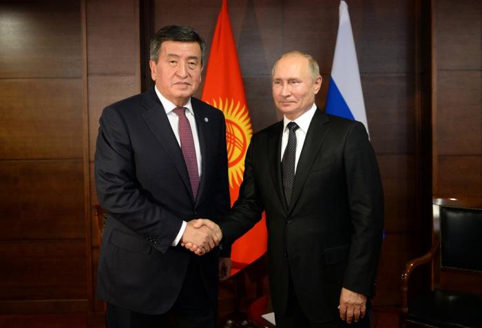 Путин и Жээнбеков на одной из предыдущих встреч.