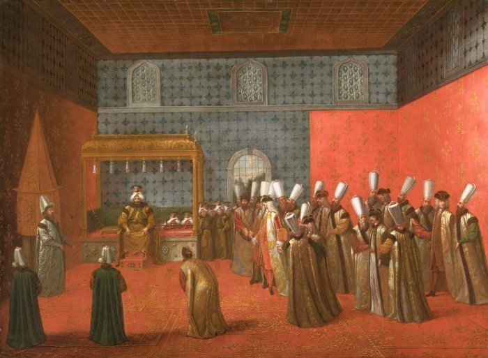 Ахмед III во время приема. Зал аудиенций.