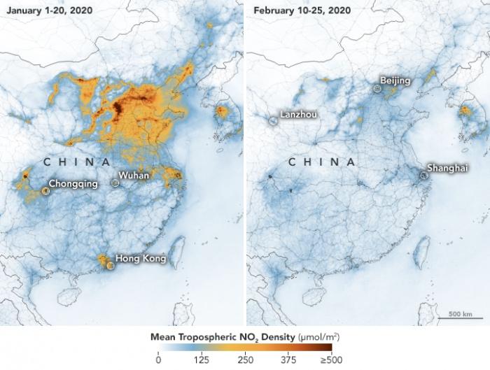 Промышленных выбросов в атмосферу в Китае стало значительно меньше.