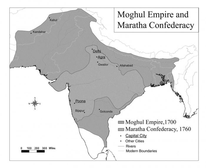 Тюркская империя Великих Моголов на карте Южной Азии (Источник фото: wikipedia.org)
