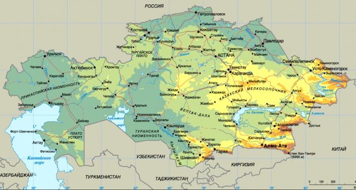 Географическая карта Республики Казахстан (столица г. Астана указана до переименования в г. Нур-Султан)