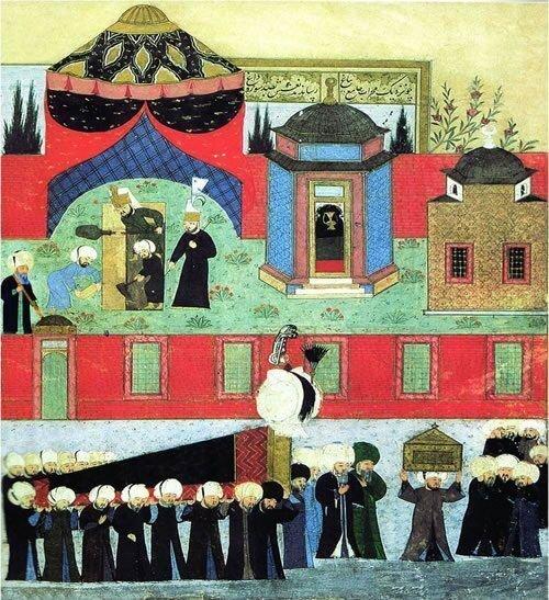 Похоронная процессия султана Сулеймана Великолепного. Перед телом покойного султана в зеленой чалме и мантии идет накиб аль-ашраф