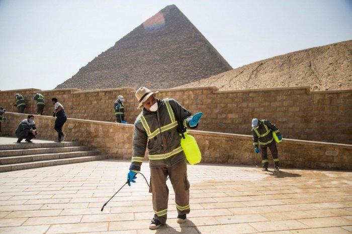 Власти Египта сообщили о дезинфекции пирамид Гизы.