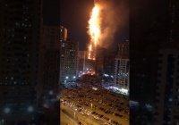 В ОАЭ крупный пожар охватил 49-этажный жилой небоскреб (Видео)