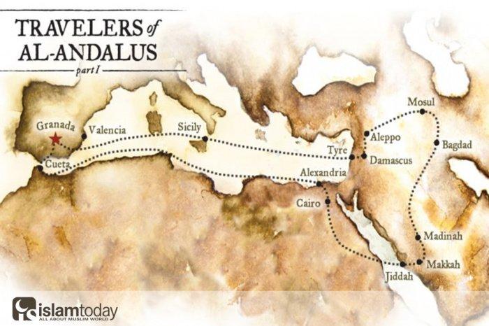 Карта путешествия Ибн Джубайра (Источник фото: yandex.ru)