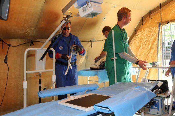Мобильный госпиталь МЧС РФ приступит к работе в ближайшее время.