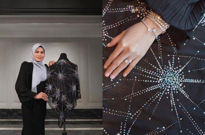 Платок украшен тысячью мелких сияющих кристаллов Swarovski, он был выставлен в фирменном магазине (ФОТО: @ BAWALEXCLUSIVE INSTAGRAM)