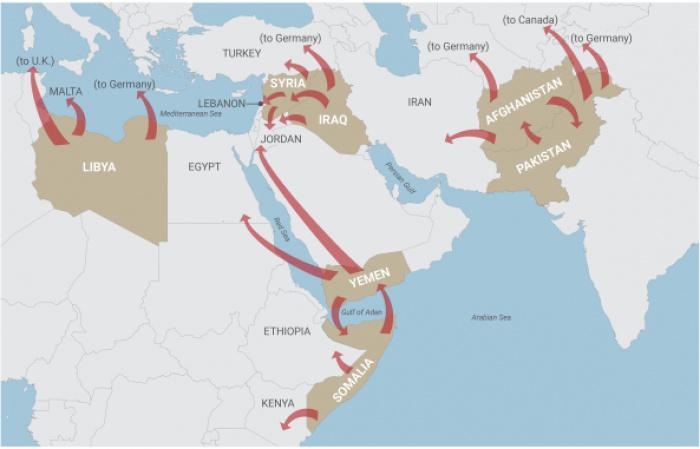 Азиатские и африканские страны, население которых пострадало из-за войн, развязанных США. (Источник: доклад Displacement Caused by the United States' Post-9/11 Wars)