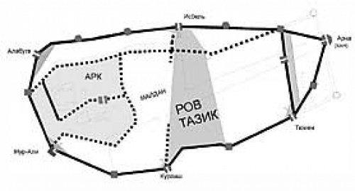 Казанский кремль в первой половине XVI века и Таджикский овраг (Ров Тазик). Реконструкция Нияза Халита