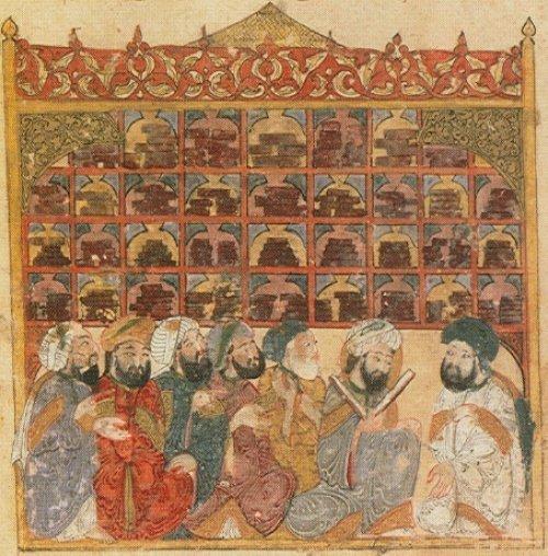 Ученые в Доме Мудрости. Средневековая миниатюра.