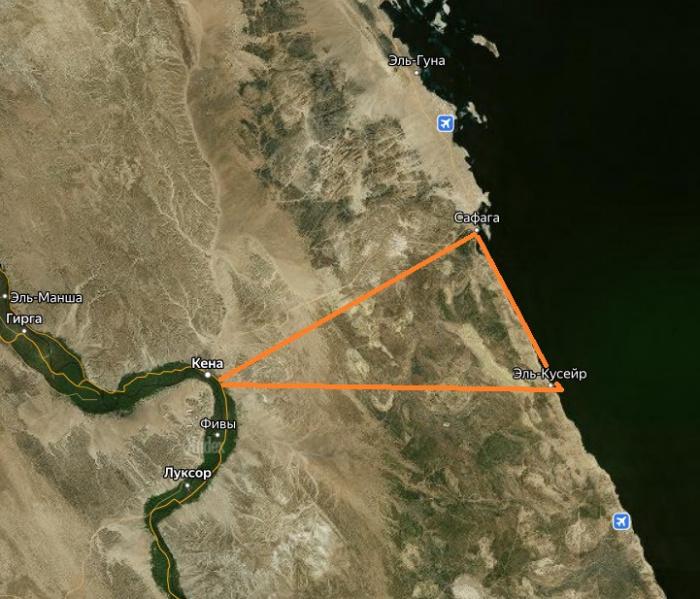 Район Золотой треугольник на спутниковой карте Египта
