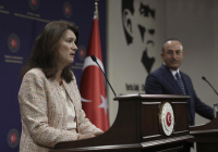 Главы МИД Турции и Швеции устроили перепалку (Видео)