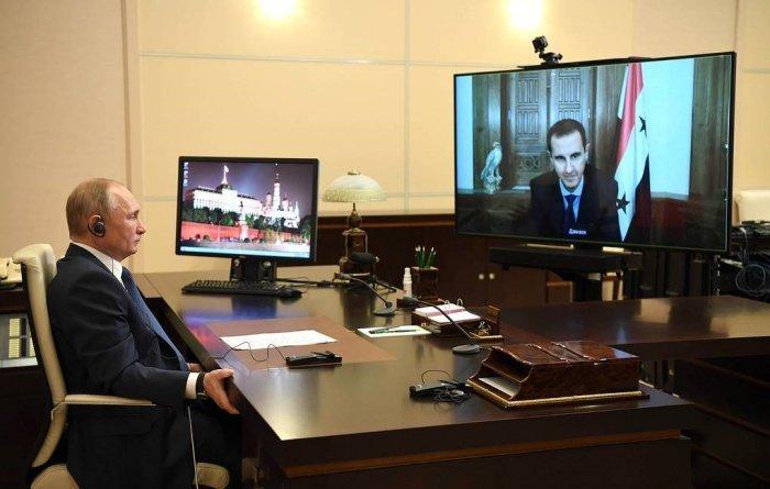 Президенты России и Сирии провели онлайн-встречу.