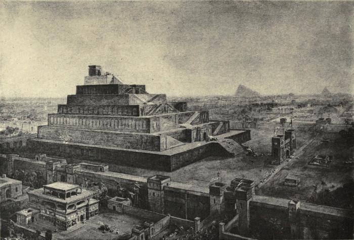 """Эта иллюстрация 19-го века Уильяма Симпсона """"стены Вавилона и Храм Бел (или Вавилон)"""" была создана под влиянием ранних археологических исследований на этом месте."""