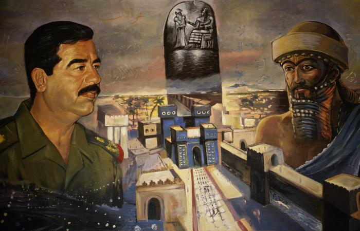 Фреска с изображением Саддама Хусейна и царя Навуходоносора над Вавилоном