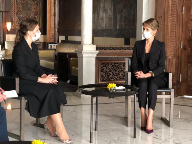 Анна Кузнецова с Асмой аль-Асад.