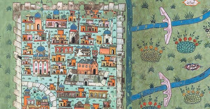 В рукописи XVI века Матракчи показан план города Диябакыр на юго-востоке Турции
