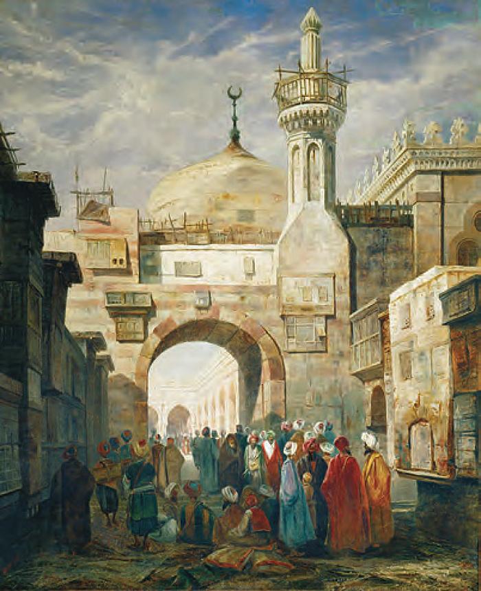 Мечеть Аль-Азхар, Каир, Египет, была основана в 972 году и изображена здесь в 1831 году. Мечеть играла центральную роль в повседневной жизни мусульман. Он был расположен в самом центре города, с домами и предприятиями, отходящими от него в разных направлениях
