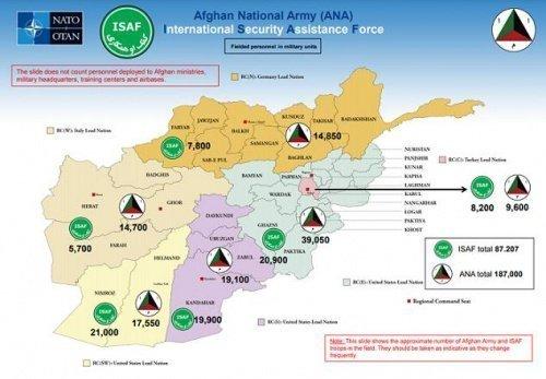 Схема дислокации сил ISAF и подразделений Афганской национальной армии